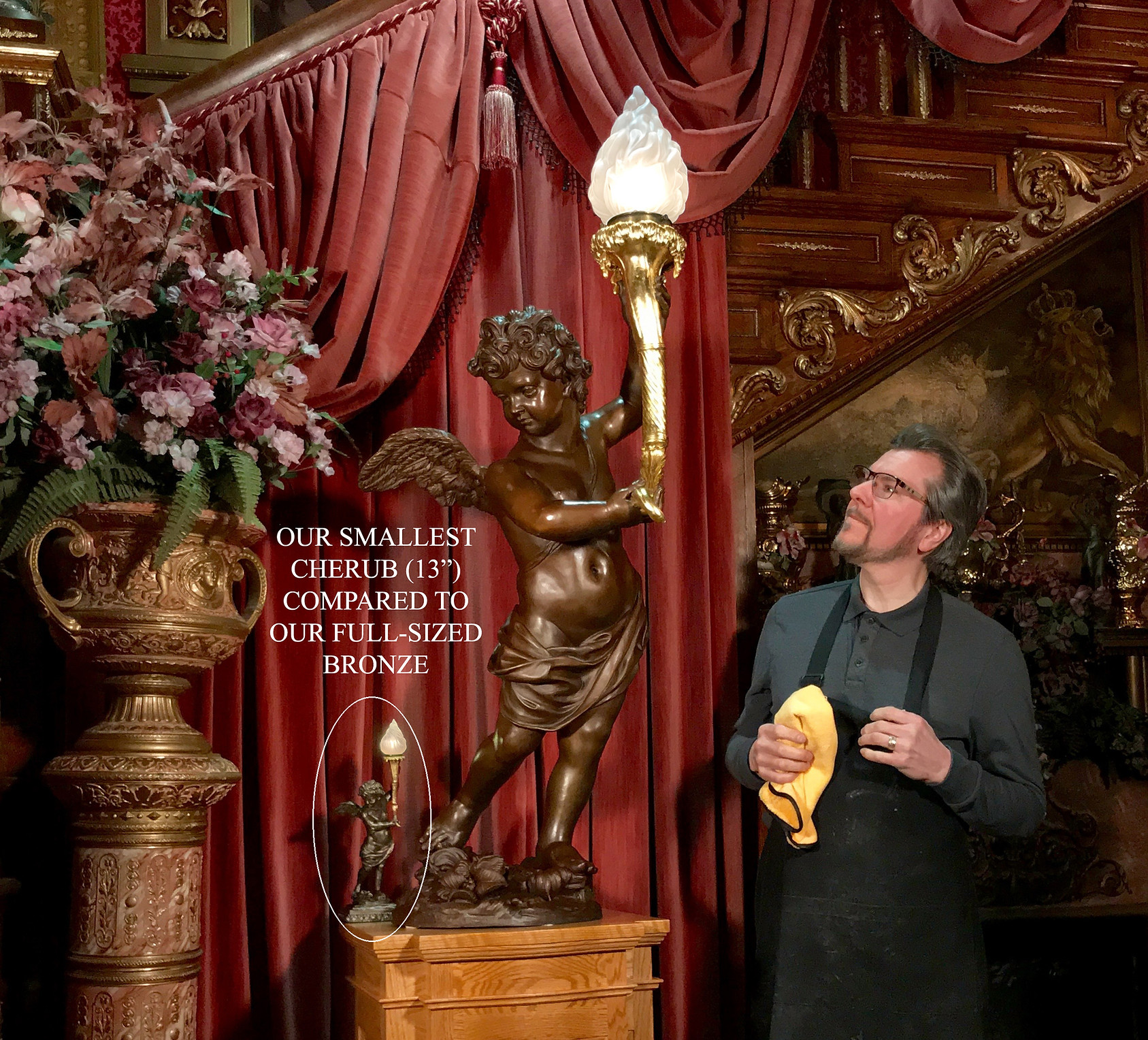 Titanic Artist Alan St. George with Cherub Faithfully Reproduced Full-sized in Bronze with 24 karat gold-leafed torch