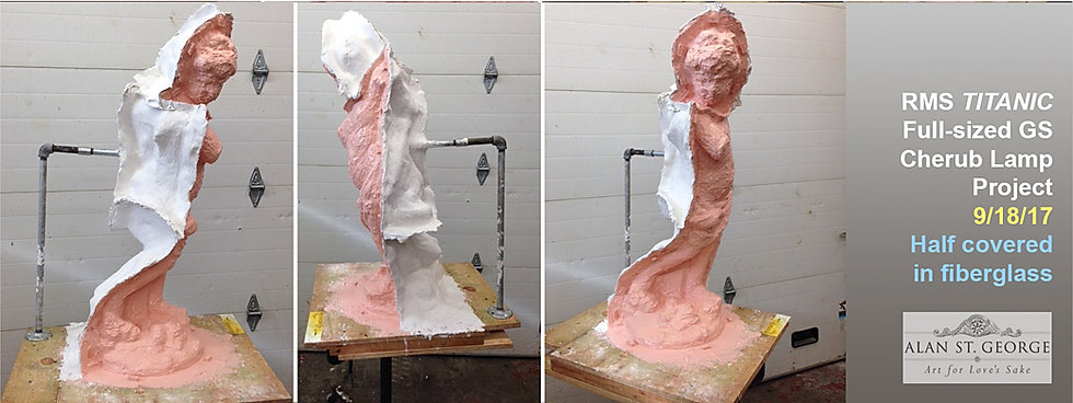 Barely recognizable the Titanic cherub is now coverd in six coats of rubber and half-covered in fiberglass.