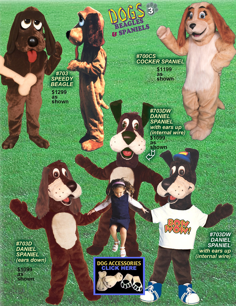 Facemakers Beagle Spaniel Dog mascot costumes