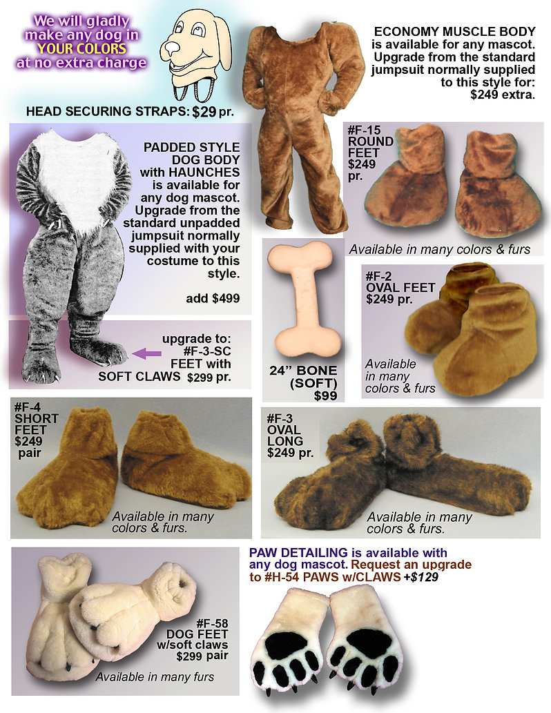 Facemakers Dog Mascot Costume Items