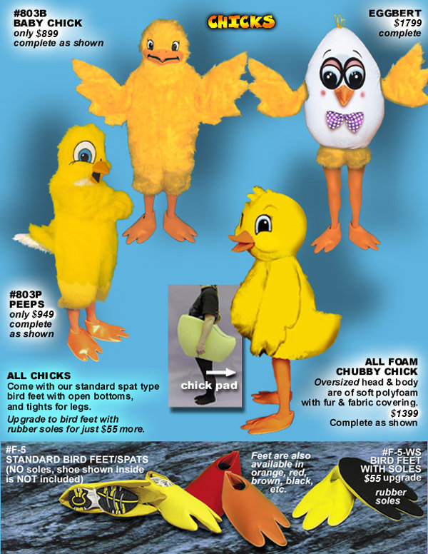 Facemakers Chick Mascot Costumes