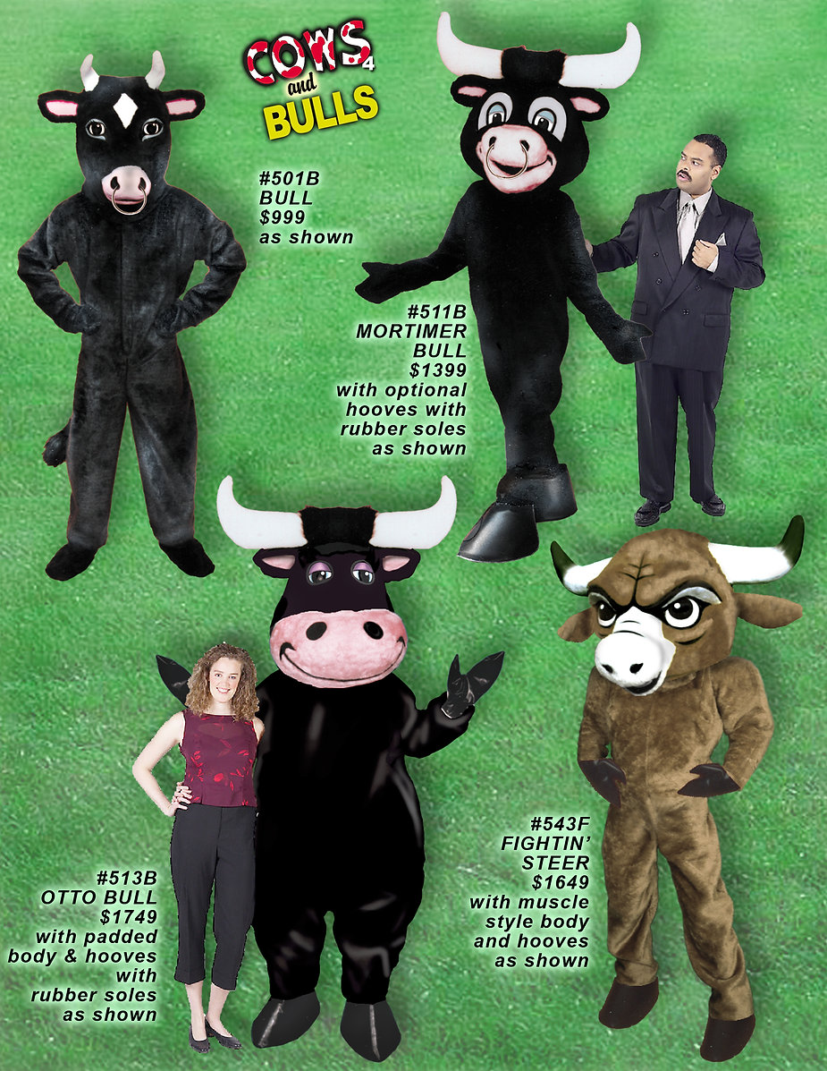 Facemakers Bull mascot costumes