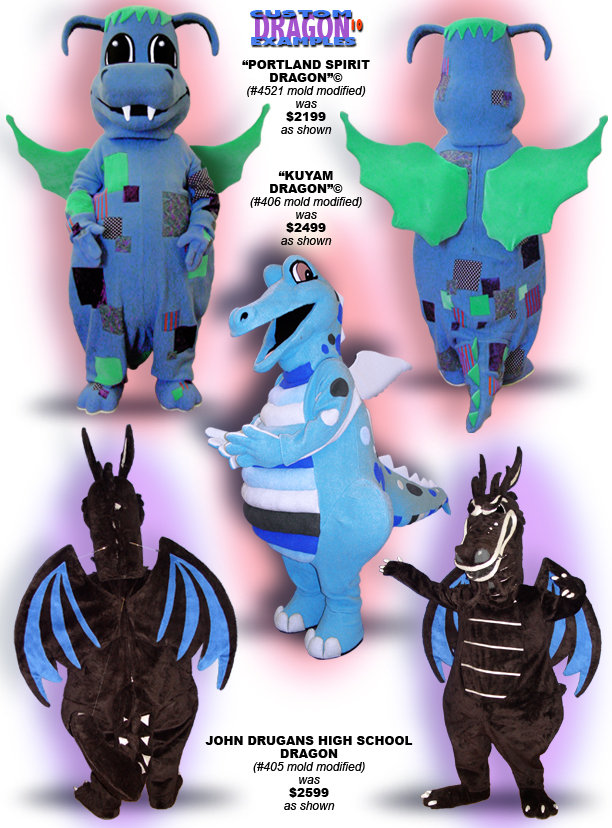 Facemakers Winged Dragon Mascot Costumes