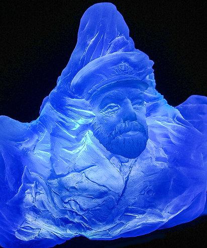 LIGHTED blue iceberg