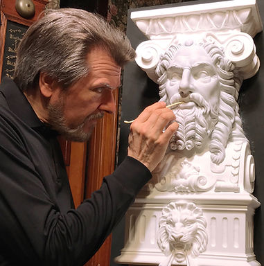Alan St George sculpting the god from Titanic's Dining Saloon