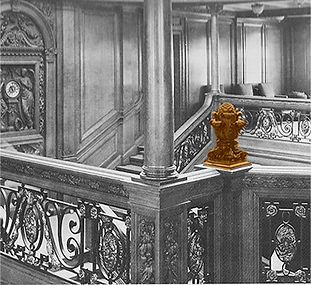 Pineapple finials of carved oak found on both the Titanic and Olympic ships topped the newel posts of the