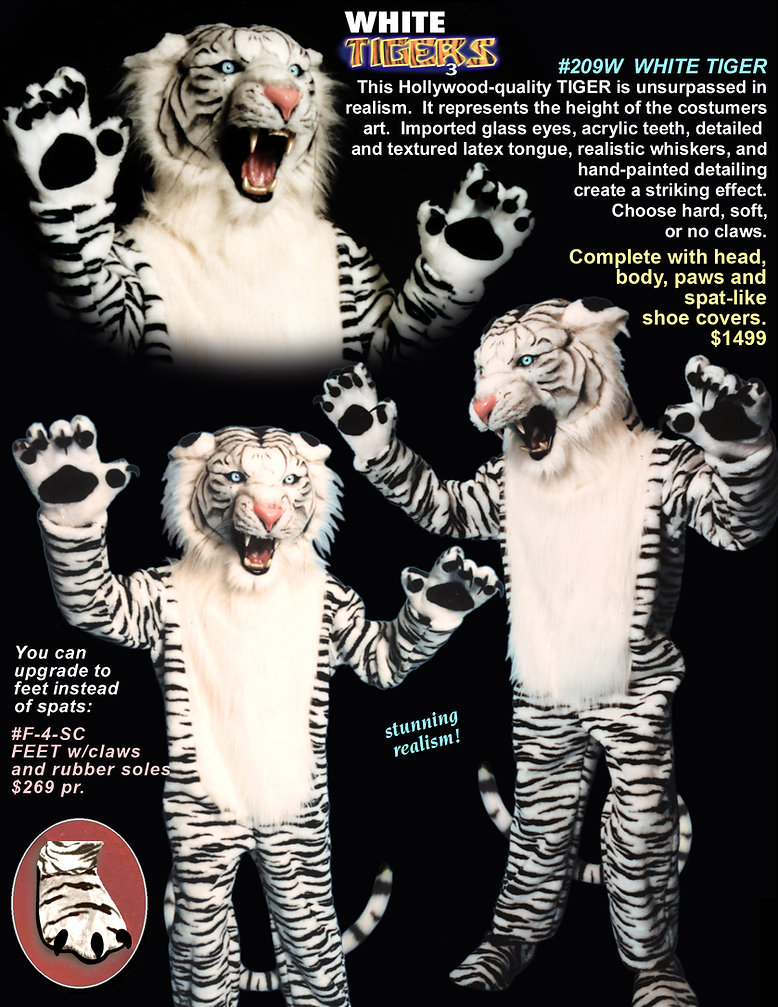 Facemakers ferocious white tiger mascot costumes