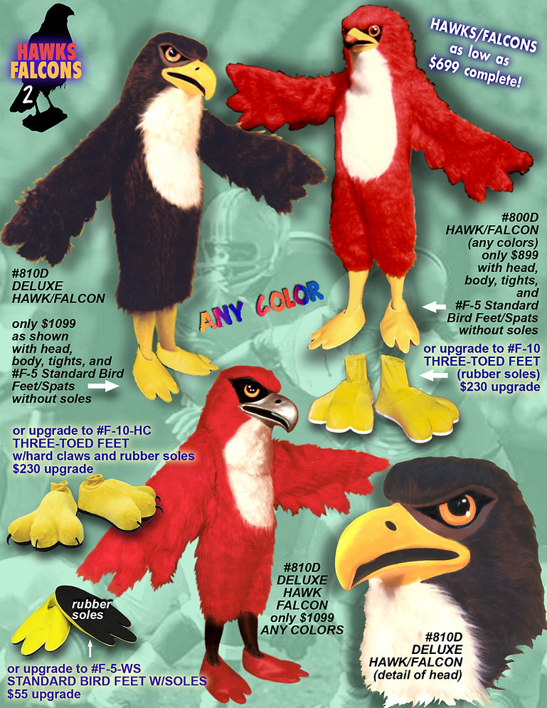 Facemakers falcon-hawk mascot costumes