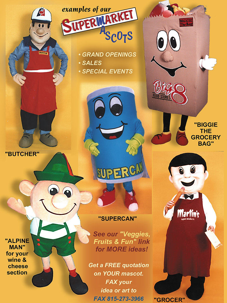Facemakers Supermarket Mascot Costumes