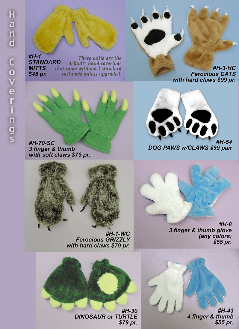 Facemakers Mascot Costume Paws, hands