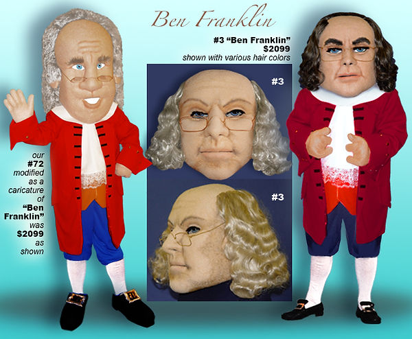Facemakers Ben Franklin Mascot Costumes