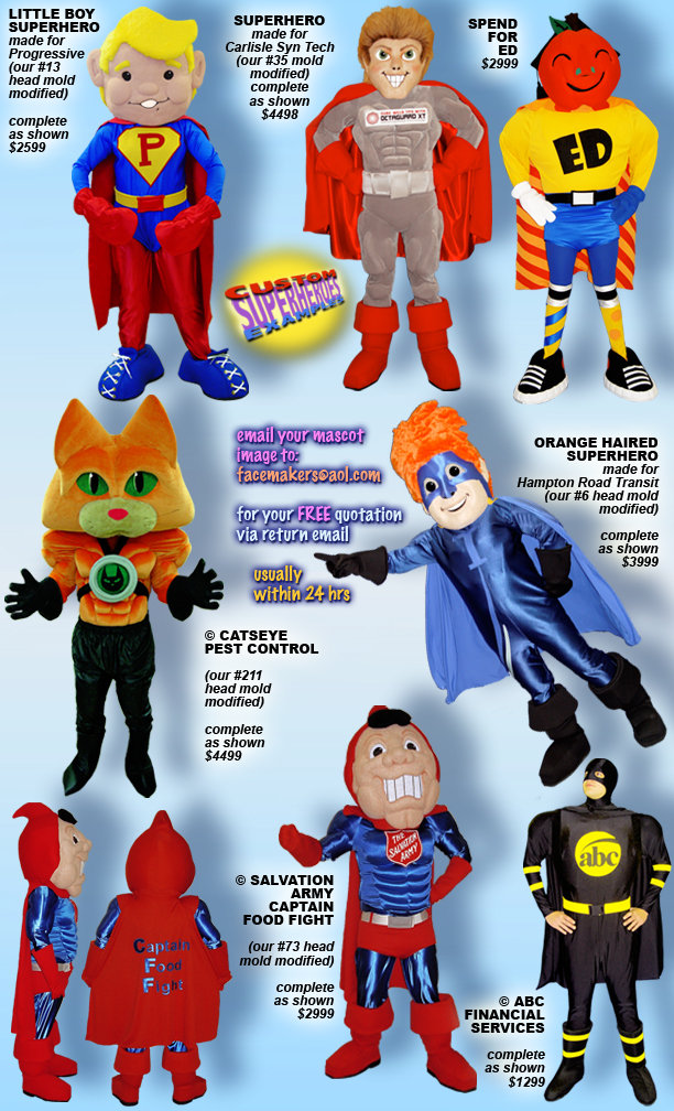 Facemakers Superhero Mascot Costumes