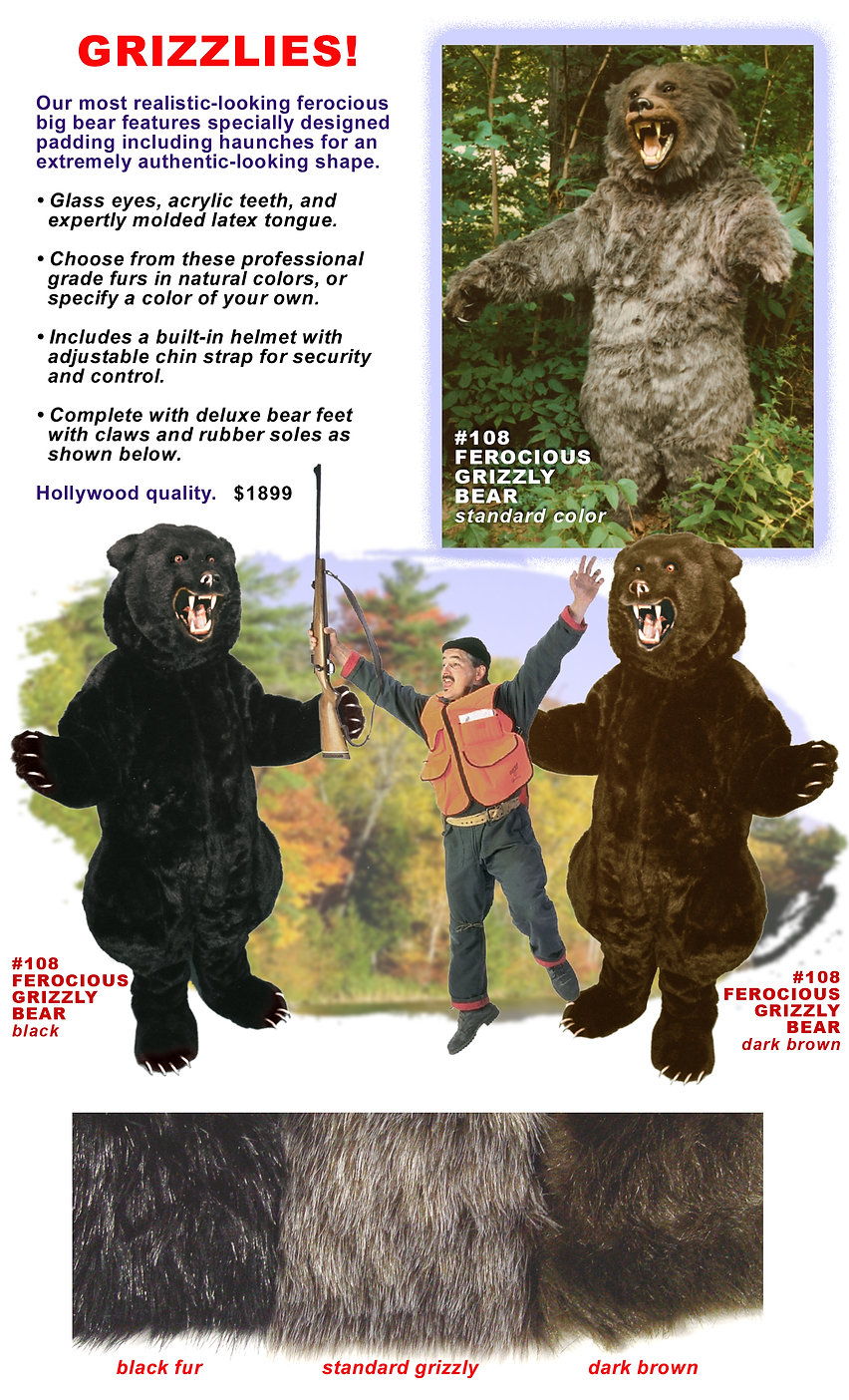 Facemakers Grizzly Bear mascot costumes