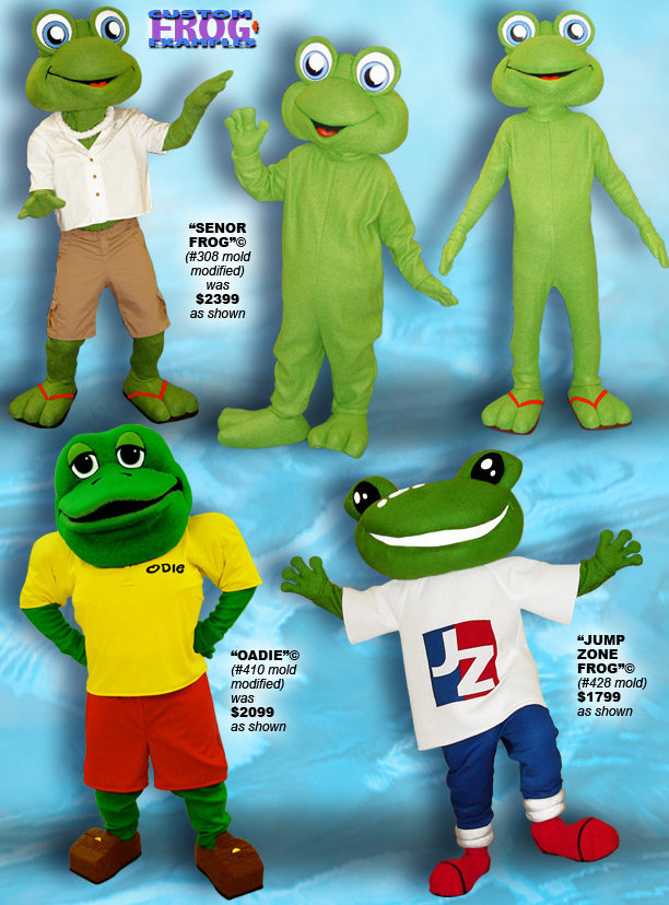 Facemakers frog mascot costumes