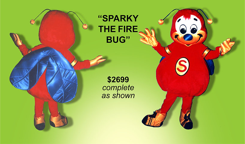 Facemakers Sparky Fire Bug mascot costumes