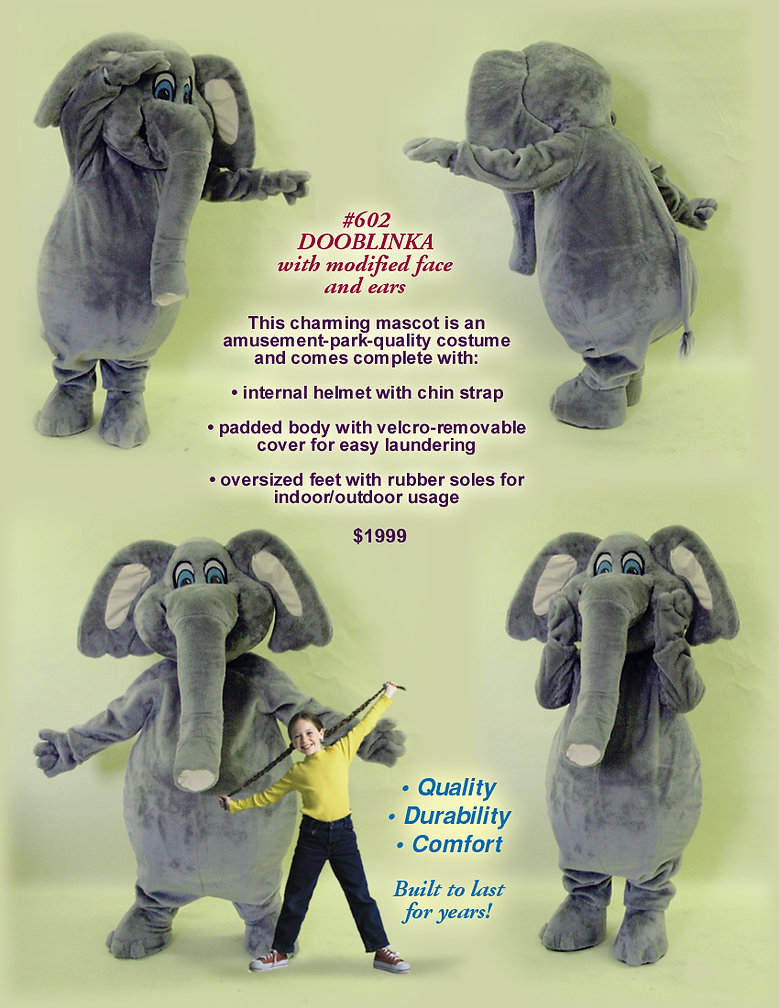 Facemakers elephant mascot costumes