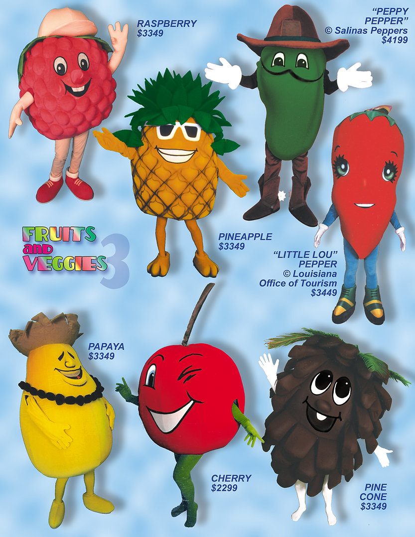 Facemakers Pineapple Mascot Costumes