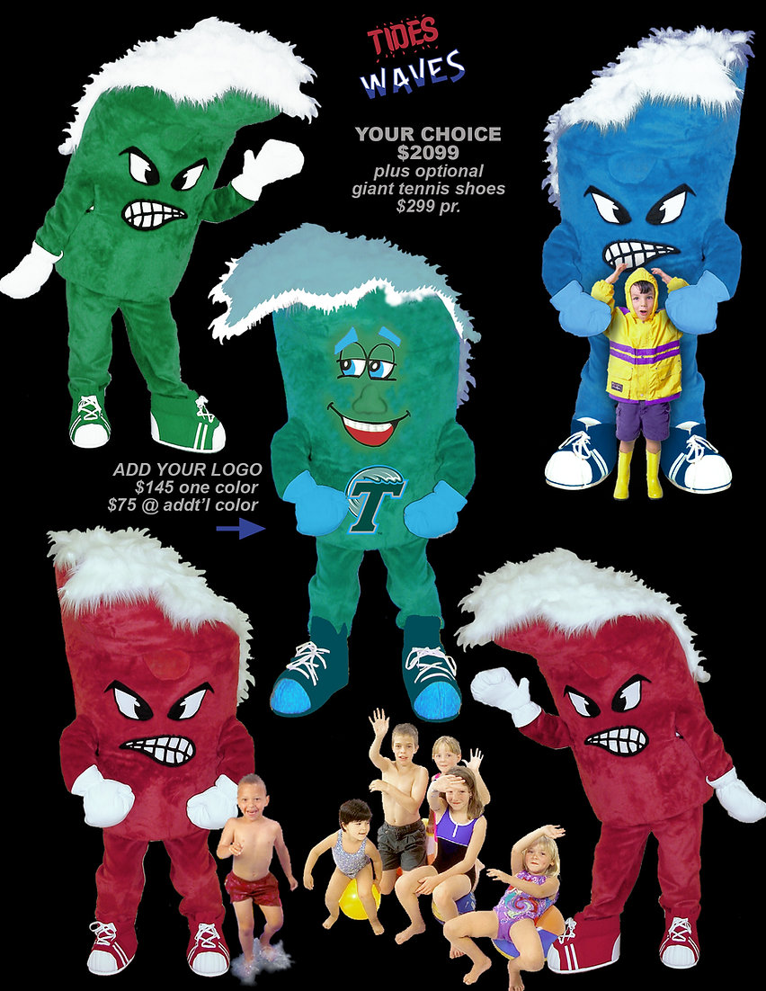 Facemakers Tides-Waves Mascot Costumes