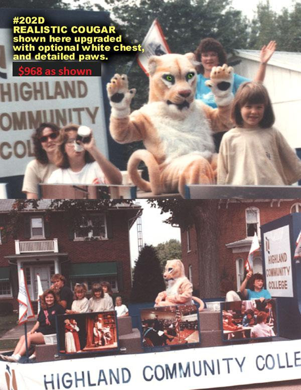 Facemakers Realistic Cougar mascot costumes