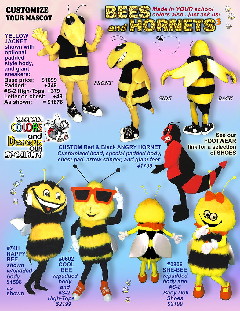 Facemakers Yellow Jacket Mascot Costumes
