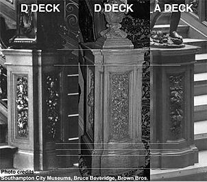 RMS Titanic Grand Staircase newels compared: D Deck and A Deck