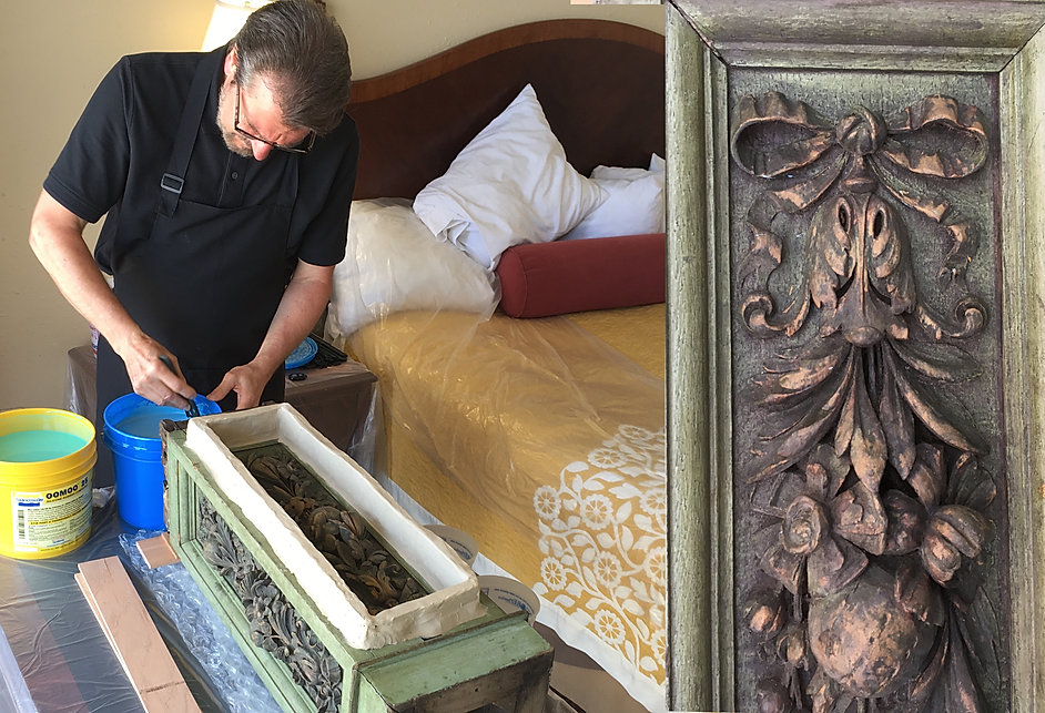 "Titanic sculptor, Alan St. George, mixes silicone rubber in his hotel room ""studio."" The century-old RMS Olympic carvings will soon be encapsulated in a new mold."