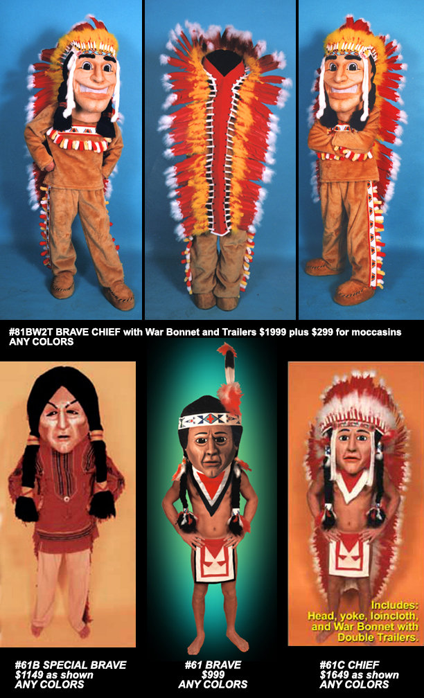 Facemakers Indian Mascot Costumes