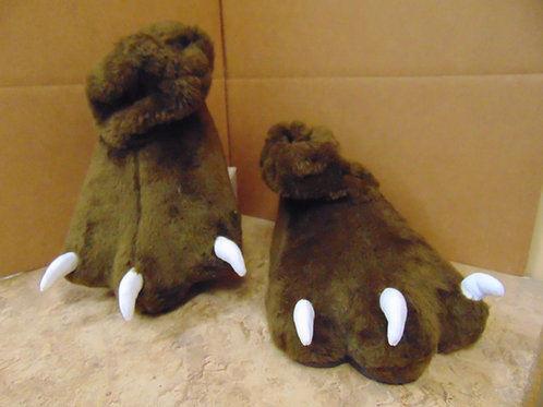 F4 Brown Plush Feet w/soft claws rubber soles