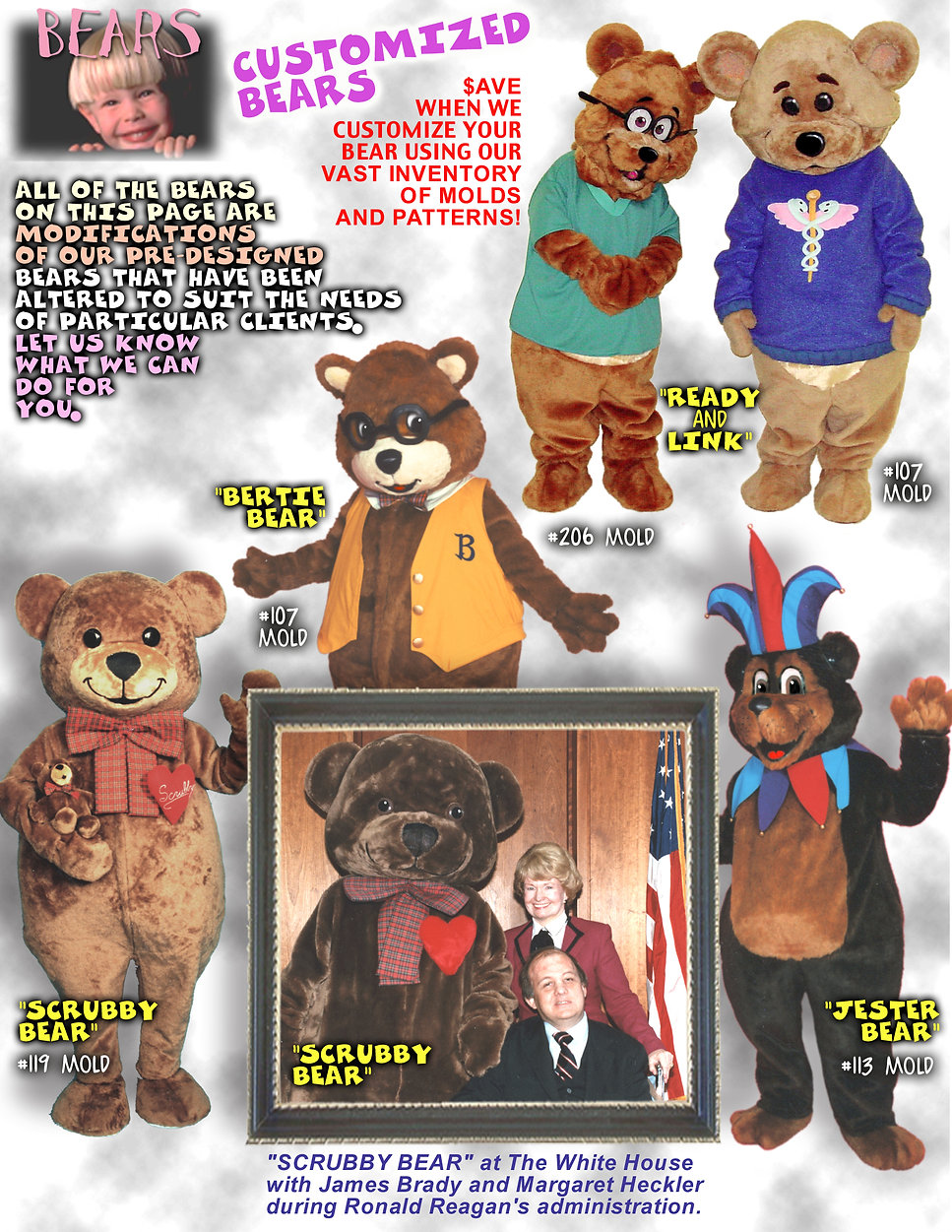 Facemakers custom-made bear mascot costumes page one