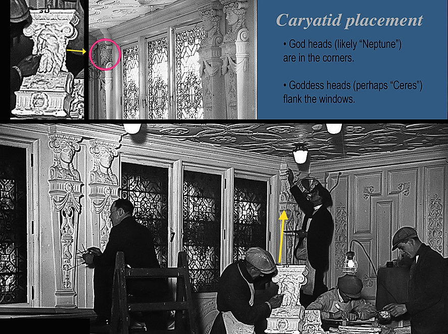 RMS Olympic Dining Saloon Neptune and goddess heads.