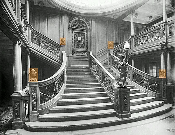 Titanic's forward Grand Staircase pineapple newel post finials delineated.