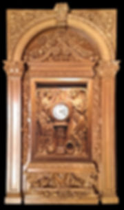 "Large Titanic Clock with Complete Architectural Surround in special custom color: ""Cameron Oak"""
