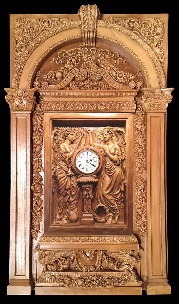 """Large Titanic Clock with Complete Architectural Surround in special custom color: """"Cameron Oak"""""""