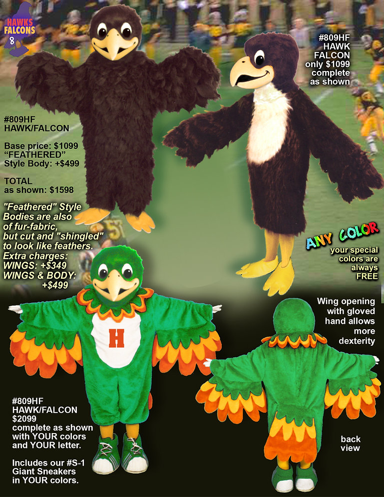 Facemakers hawk/falcon Mascot Costumes