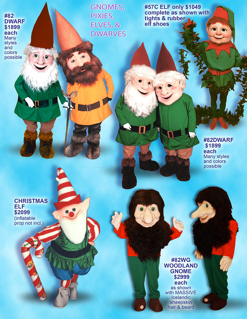 Facemakers Dwarf-Elf Mascot Costumes