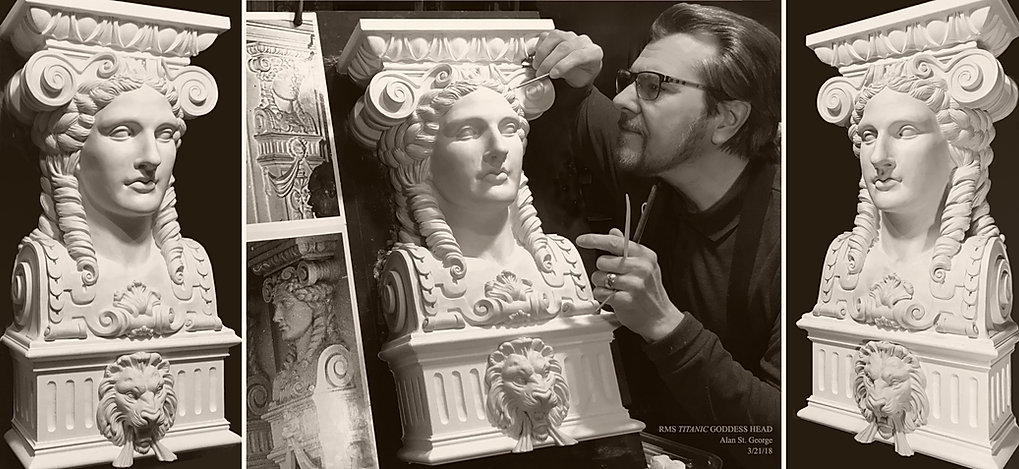 Titanic sculptor Alan St. George's recreation of the Dining Saloon goddess head in original scale.