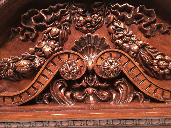 Detail of our largest RMS Titanic clock. Detail of the crowning piece shows the exacting nature of this work.