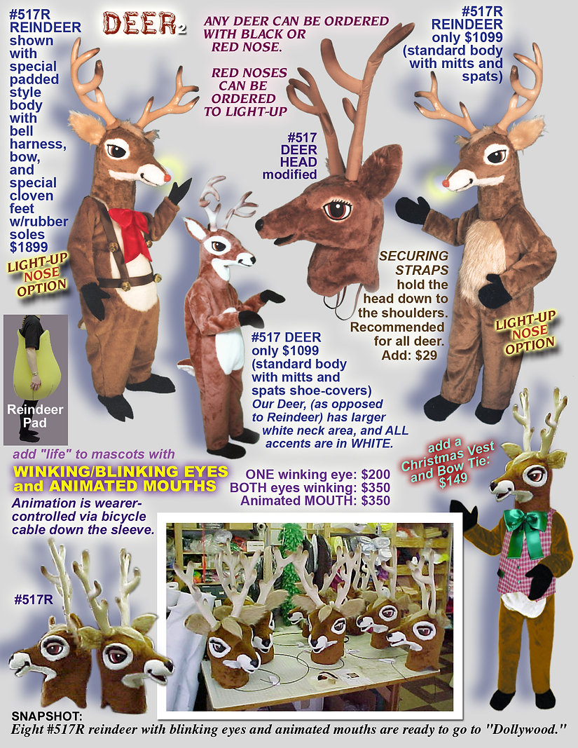 Facemakers Deer and Reindeer mascot costumes