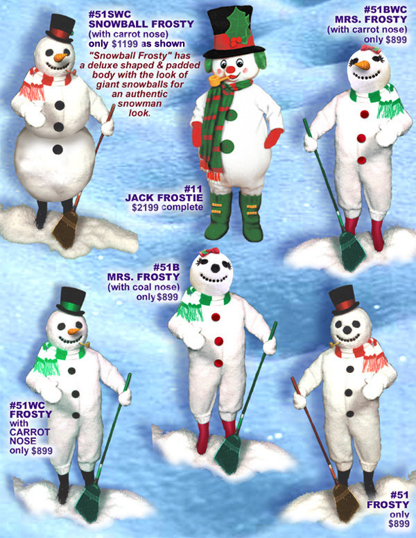 Facemakers Snowman Mascot Costumes