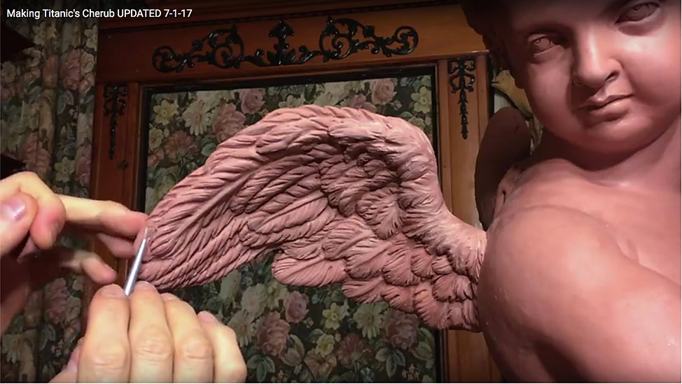 Titanic sculptor Alan St. George makes an exact copy of the ship's cherub lamp from the Grand Staircase