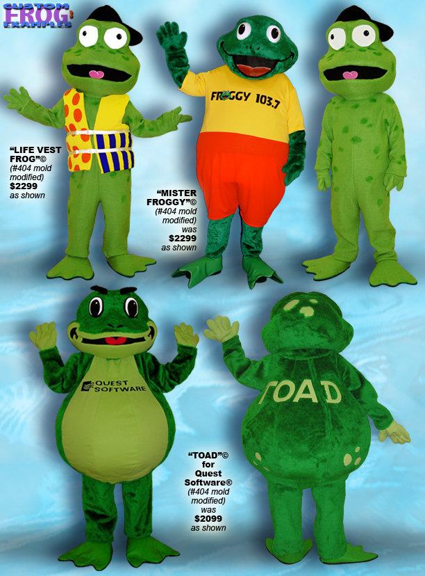 Facemakers custom frog mascot costumes