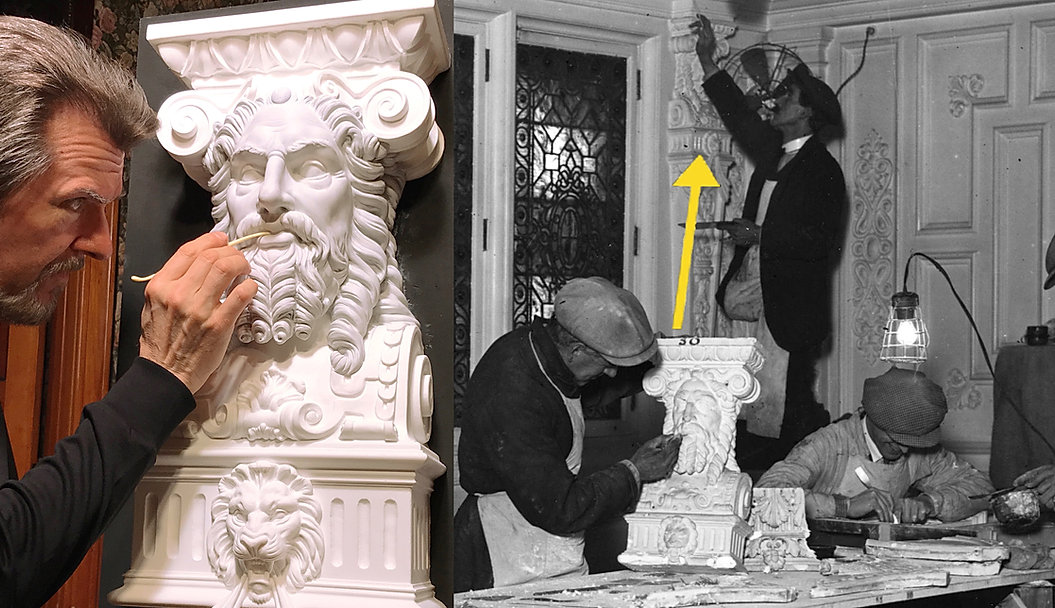 Sculpting the god head from RMS Titanic. Alan St. George puts the final touches on the full-sized replica.