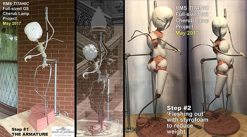 Sculpting the Titanic cherub Step Two: Fleshing out the Armature