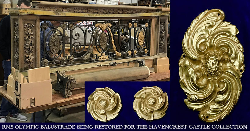 Grand staircase ornaments made available to Titanic collectors from an original RMS Olympic balustrade in the Havencrest Castle Collection