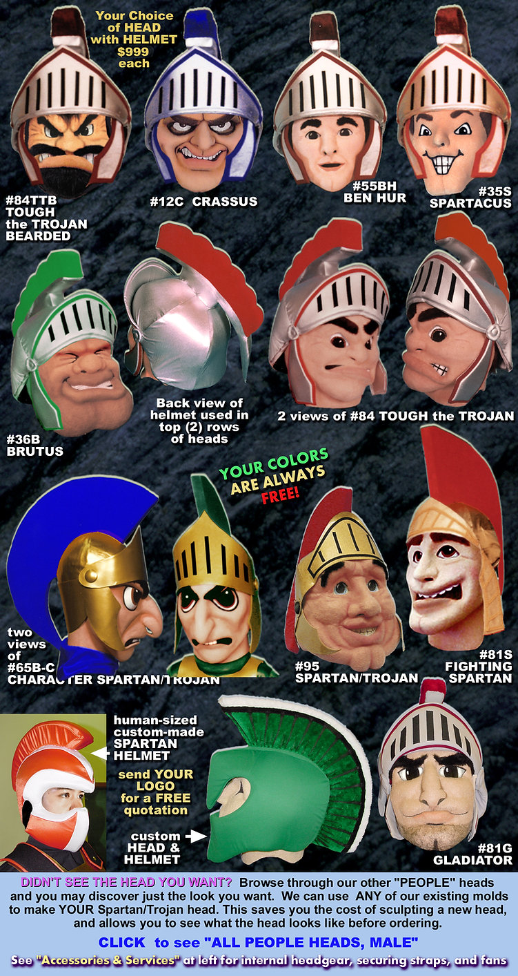 Facemakers Trojan-Spartan Mascot Heads