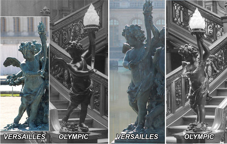 Olympic-class bronze cherub and Versailles prototype compared