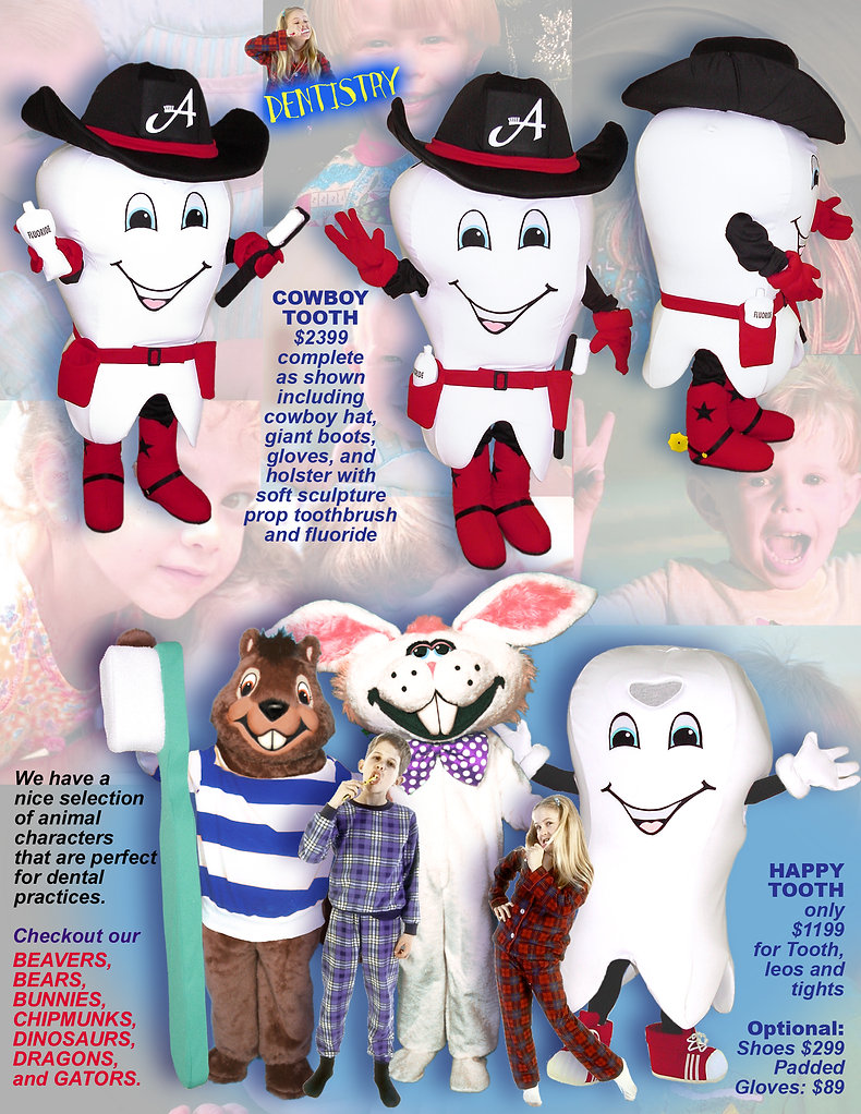 Facemakers Tooth Mascot Costumes
