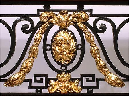 24 karat gold-leafed ornaments on the Titanic Balustrade replica.
