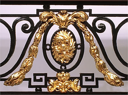 24 karat gold-leafed ornaments on the Titanic Balustrade replica.