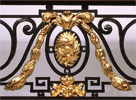 24k gold leafed ornament on the Titanic balustrade replica is dazzling!